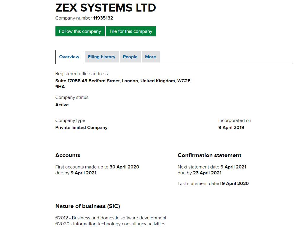 ZEX SYSTEMS LTD